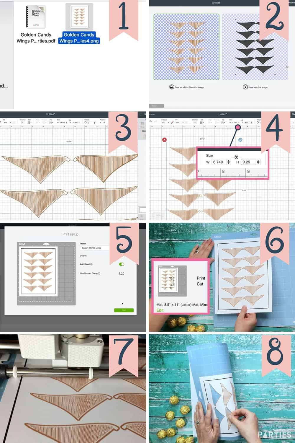 Steps 1-8 to upload, print, and cut the golden snitch wings with a Cricut cutting machine.