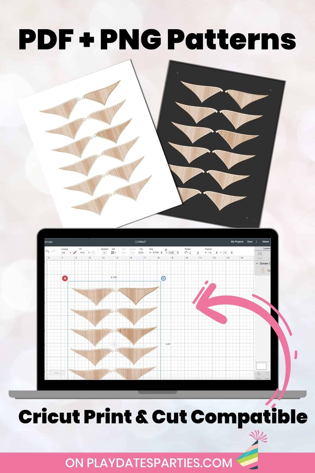 Mockup of PDF and PNG versions of the printable wings.