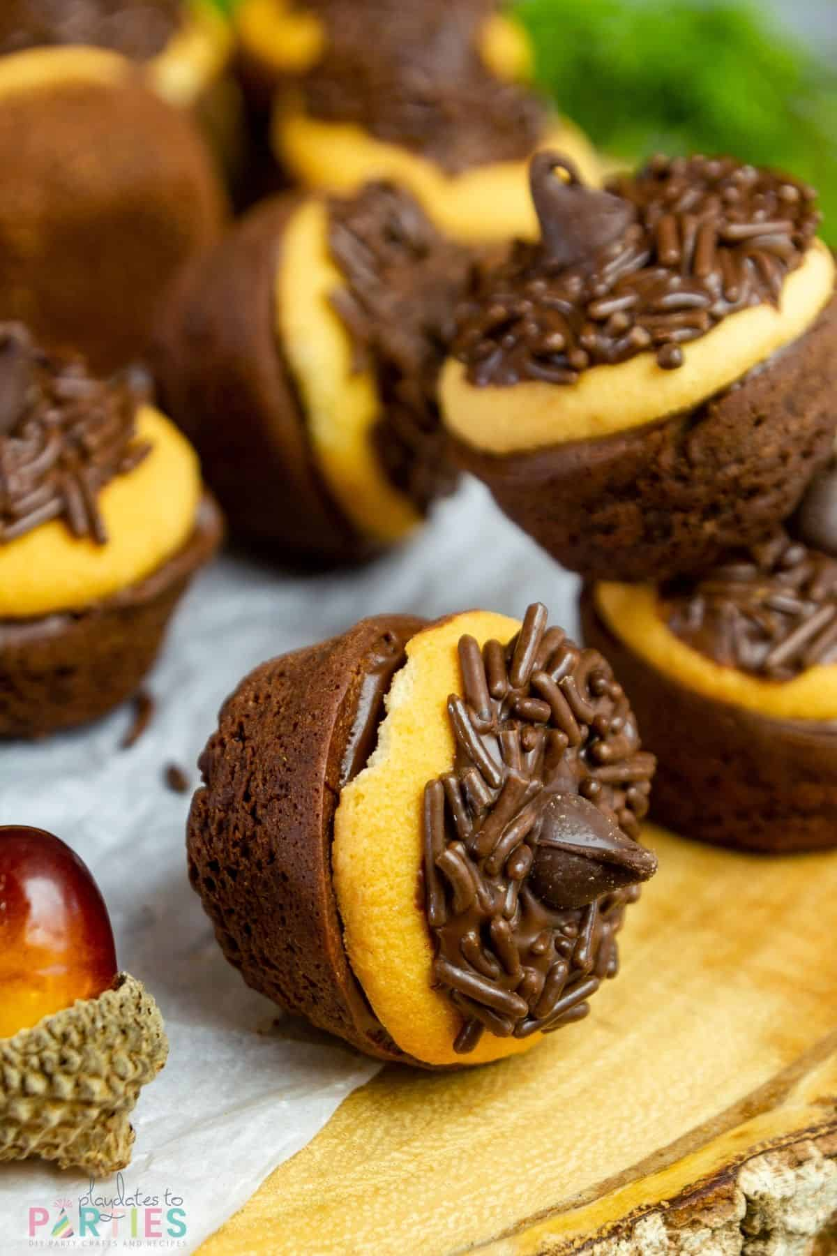 A fall themed brownie treat on its side.