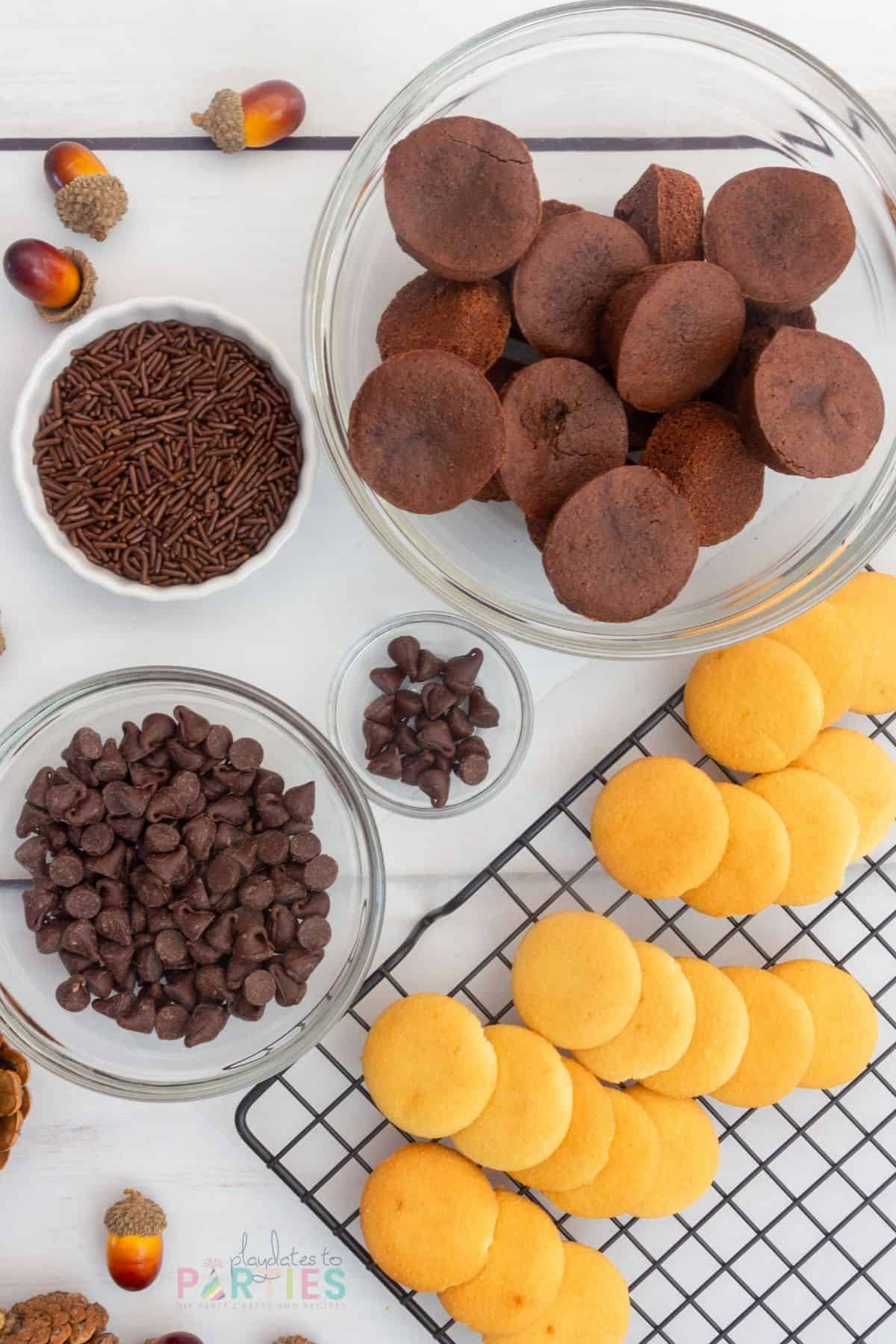 Ingredients: Nilla wafers, chocolate chips, brownie bites, chocolate sprinkles.