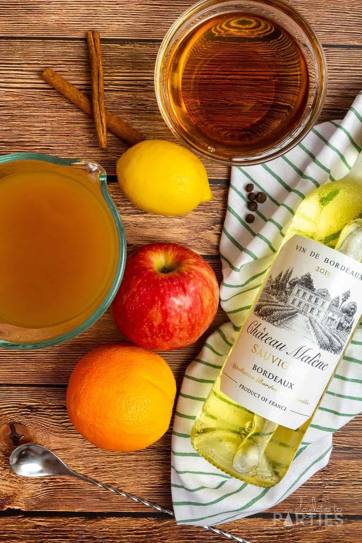 Ingredients for apple cider sangria.