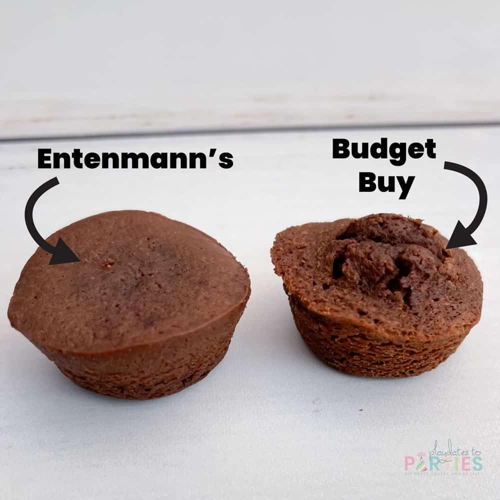 A comparison of an Entenmann's Little Bite brownie and a budget version.