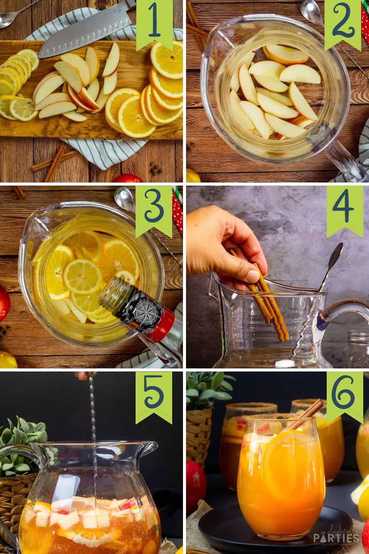 Steps 1-6 for How to make apple cider sangria.
