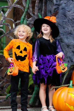 Two girls dressed up and ready for Halloween